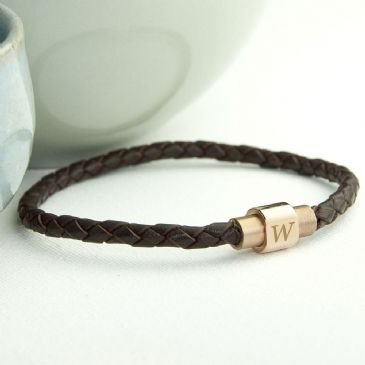 Personalised Men's Leather Bracelet With Gold Clasp